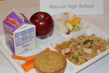 Young children take but often barely touch healthy school cafeteria food options